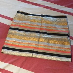 JCrew Shiny-Stripe Mini Skirt Sz 12